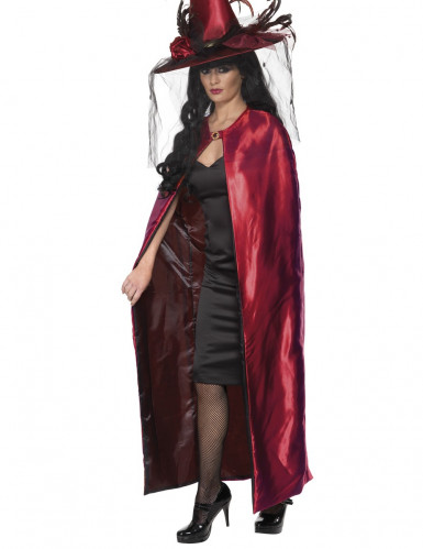 Mantello reversibile rosso e nero adulto