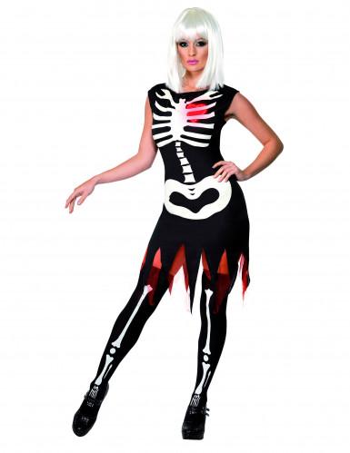 Costume scheletro con cuore donna Halloween
