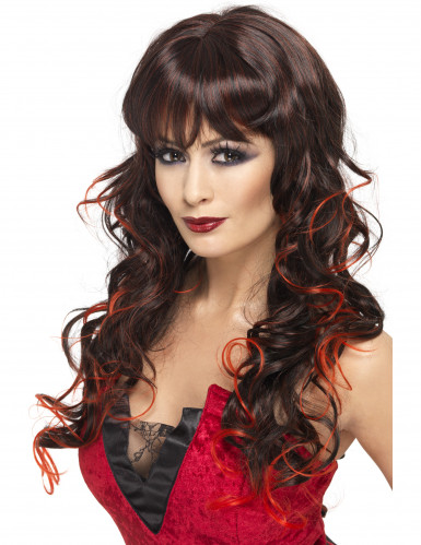 Parrucca lunga con mèches rosse per donna