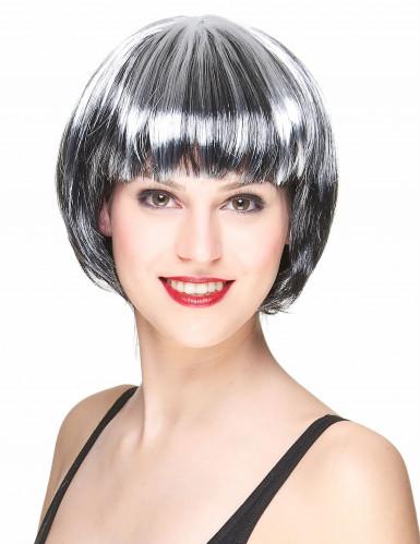 Parrucca caschetto nero e bianco donna