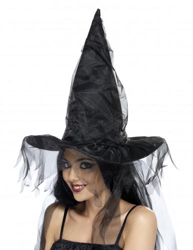 Cappello da strega nero con veli per adulto - Halloween