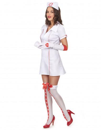 Costume maniche corte da infermiera sexy donna-1