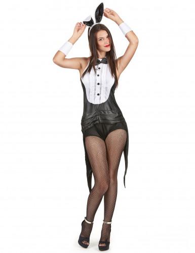 Costume coniglietta sexy in bianco e nero donna