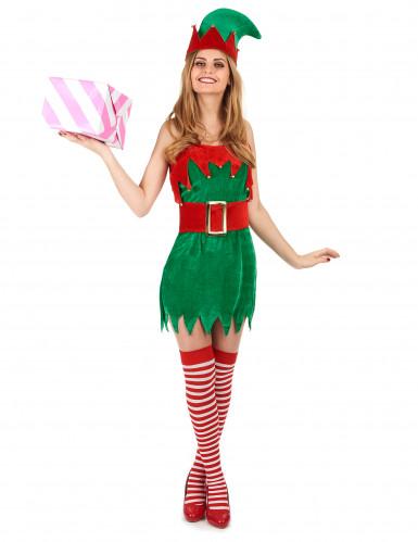 Costume elfo sbarazzino di Natale donna