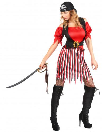 Costume pirata con gonna a righe donna