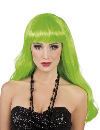 Parrucca lunga verde fluo donna