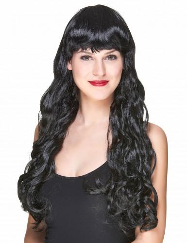 Parrucca nera con frangetta donna