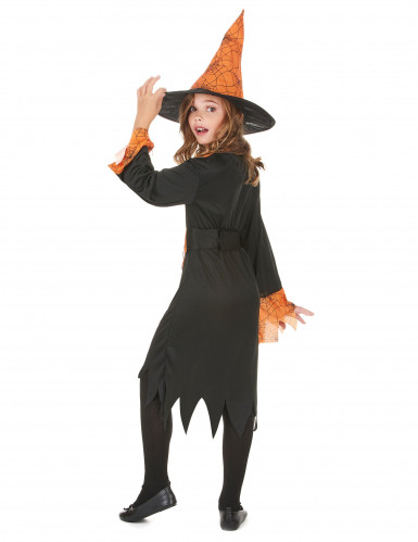 Costume da strega nero e arancione bambina Halloween-2