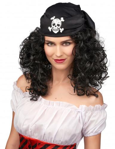 Parrucca scura da pirata donna