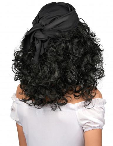 Parrucca scura da pirata donna-1