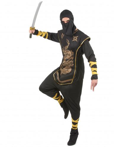 Costume ninja uomo con motivi dorati-1