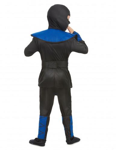 Costume ninja blu e oro per bambino-2