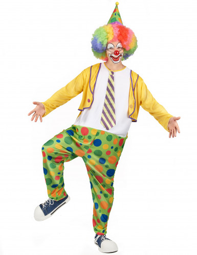 Costume clown con finta cravatta uomo