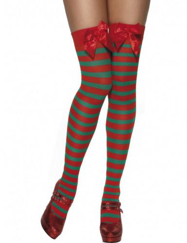 Calze a righe elfo di Natale adulto