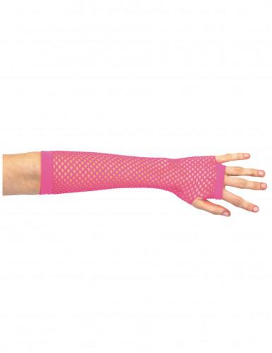 Mezzi guanti reticella rosa per donna