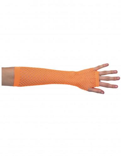 Mezzi guanti arancioni a rete lunghi per adulto