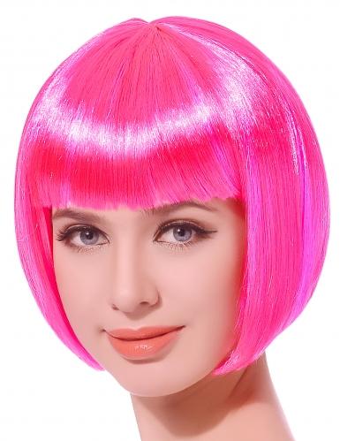 Parrucca corta rosa fluo donna