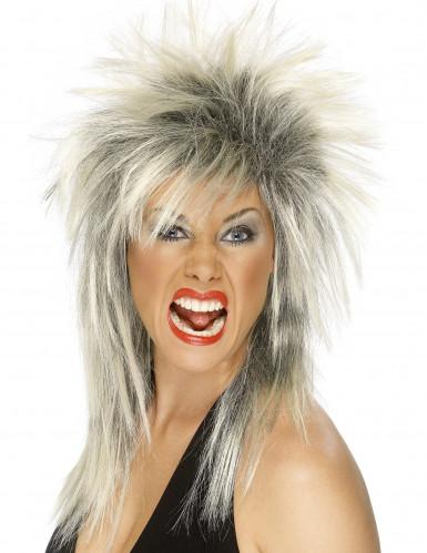 Parrucca rock bionda e nera donna