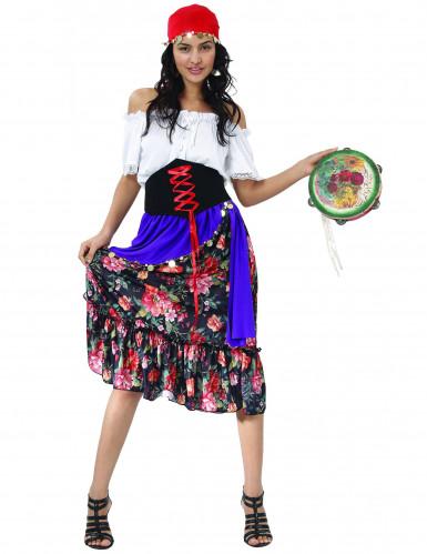Costume da gitana con gonna a fiori per donna