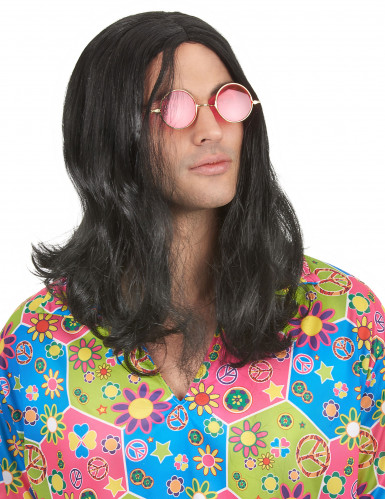Parrucca nera Hippy uomo