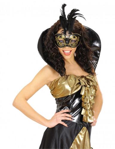 Maschera nera con piume-1