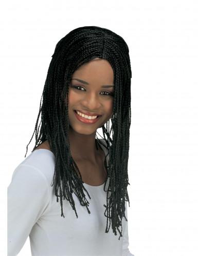 Parrucca nera con trecce donna