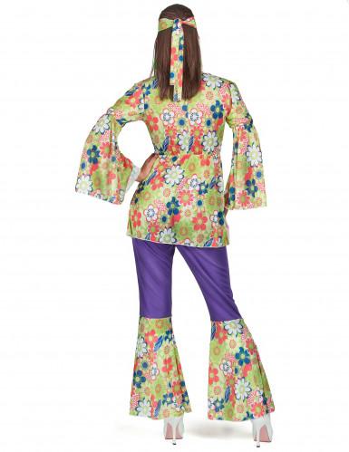 Costume hippy fiori viola per donna-2