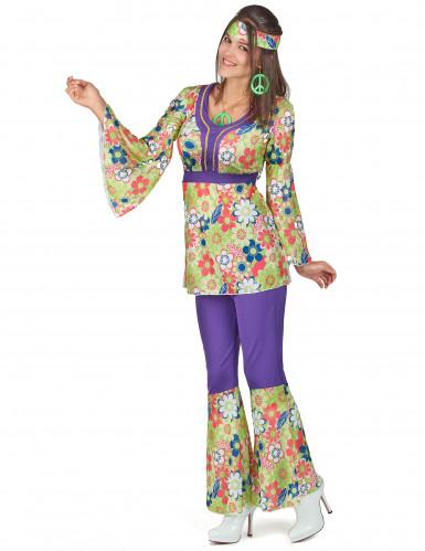 Costume hippy fiori viola per donna-1