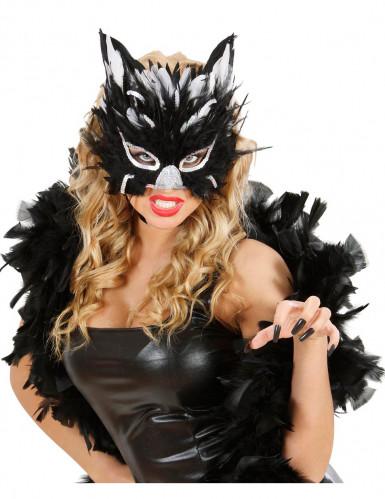 Maschera da gatta con piume per adulto