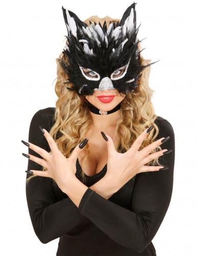 Maschera da gatta con piume per adulto-1