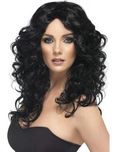 Parrucca nera con ricci donna