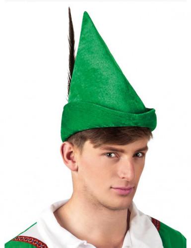 Cappello verde con piuma per adulto