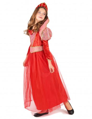 Costume regina rossa medievale bambina-1