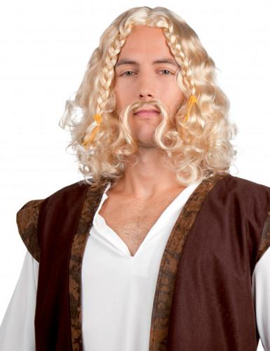 Parrucca da vichingo con baffi uomo