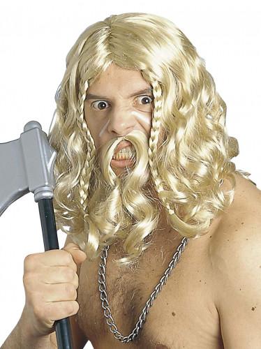 Parrucca e baffi vichingo uomo