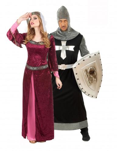 Costume coppia regina e cavaliere medievale