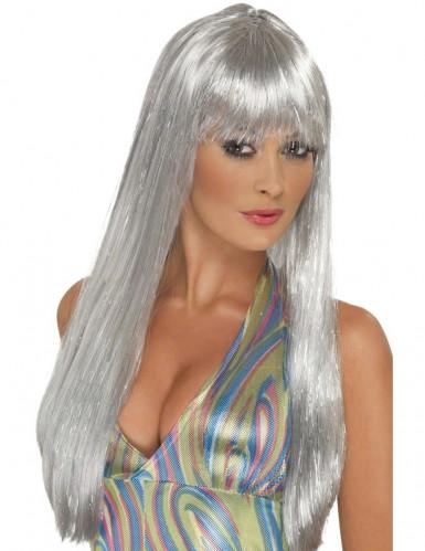 Parrucca lunga argentata donna