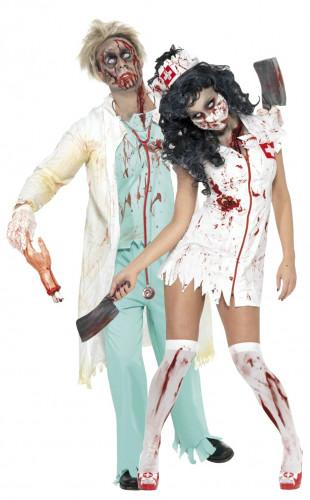 Costume coppia infermiera e dottore zombie Halloween