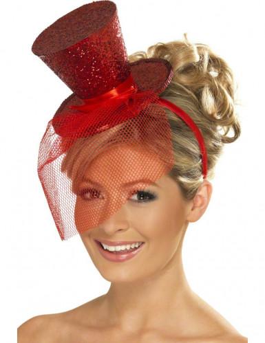 Mini cappello paillettato rosso