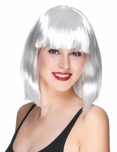 Parrucca caschetto bianca con frangia per donna
