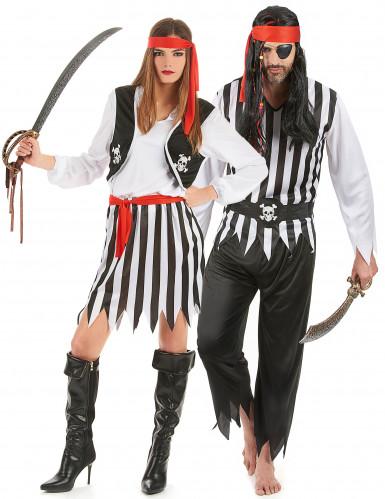Costume coppia pirati a righe per adulto