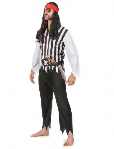 Costume coppia pirati a righe per adulto-1