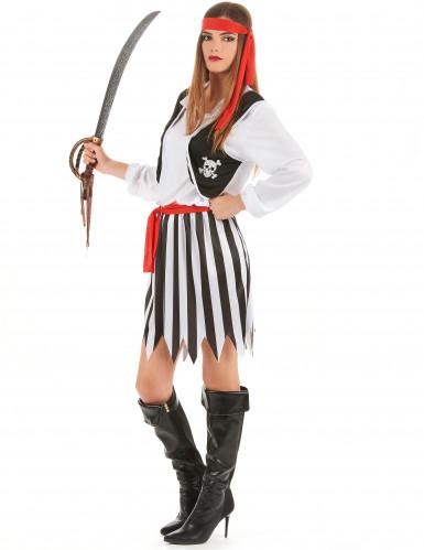 Costume coppia pirati a righe per adulto-2