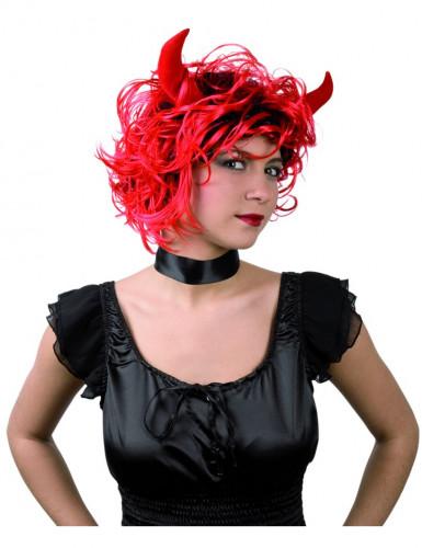 Parrucca da diavolessa con corna Halloween