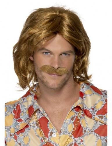 Parrucca e baffi hippy uomo