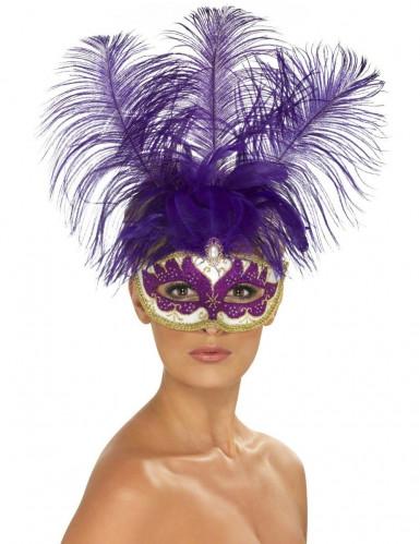 Maschera veneziana viola con piume adulto