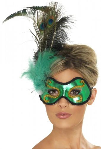 Maschera verde con piume adulto