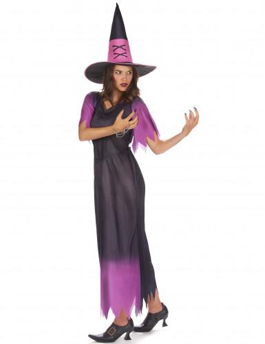 Costume da strega nero e viola per donna-1
