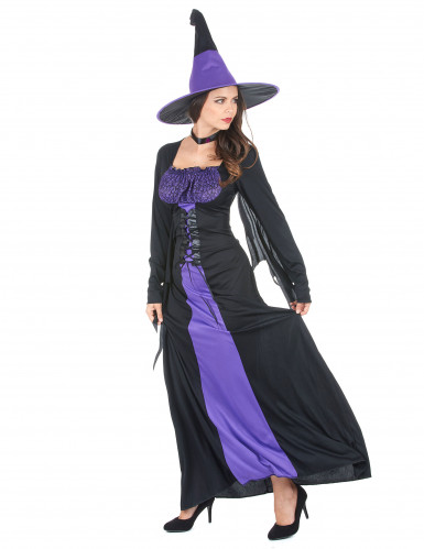Costume da strega nero e viola donna Halloween-1