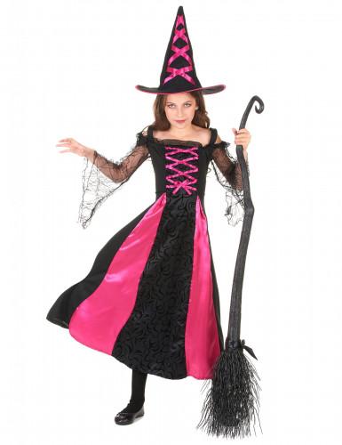 Costume da strega fucsia bambina Halloween